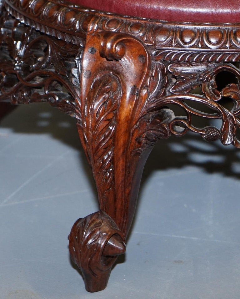 Victorian Rare Wood Hand Carved Anglo Indian Burmese Chairs Oxblood Leather Pair 3
