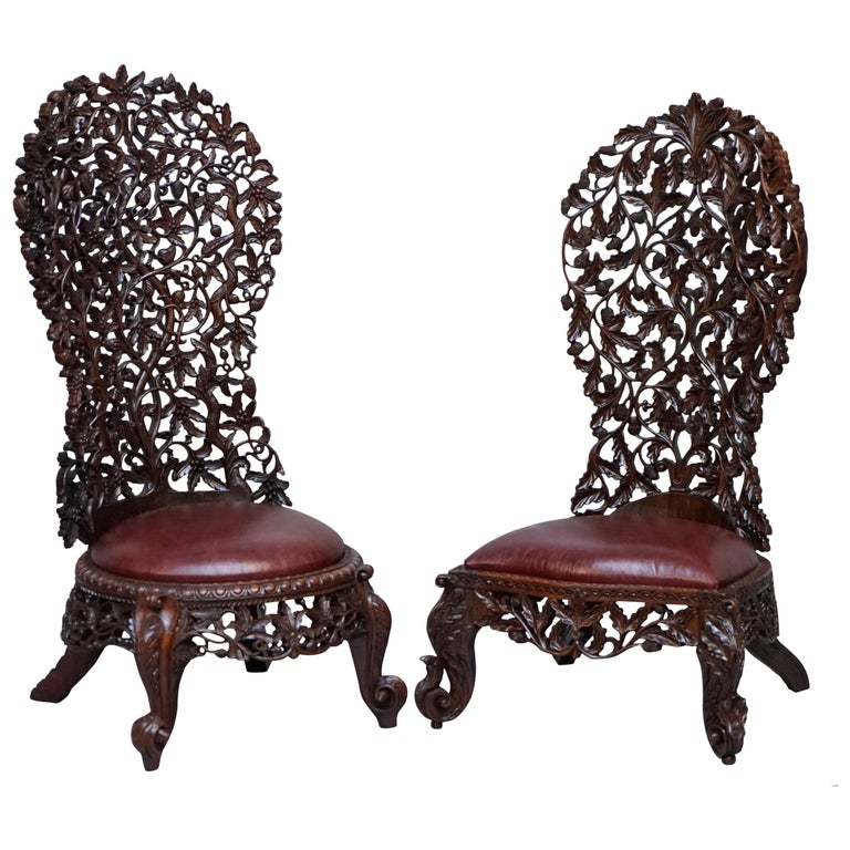 Victorian Rare Wood Hand Carved Anglo Indian Burmese Chairs Oxblood Leather Pair