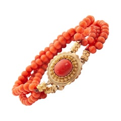 Victorian Red Coral 14 Karat Yellow Gold Beaded Children Bracelet