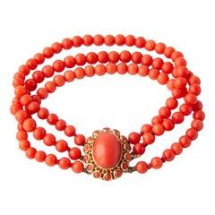 Victorian Red Coral 14 Karat Gold Beaded Bracelet