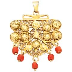 Victorian Red Coral Gemstone 14 Karat Yellow Gold Bead Necklace Pendant