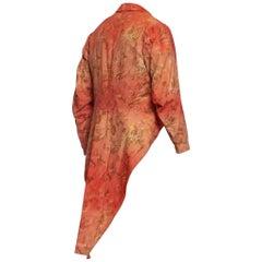 Victorian Red Cotton Tie Dye Rococo Print Men's Tail Coat Jacket