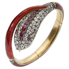 Victorian Red Enamel Diamond and Ruby Snake Bangle, circa 1860