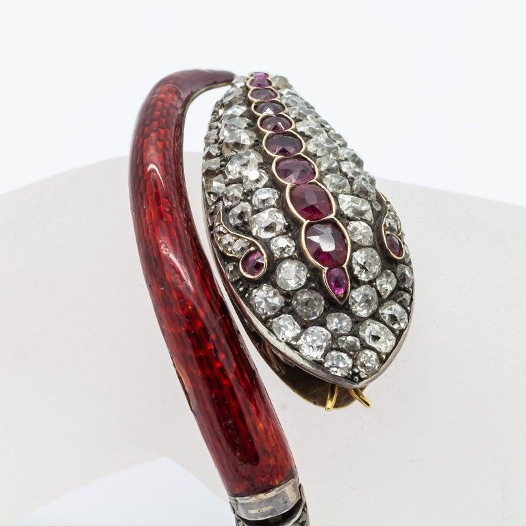 Women's Victorian Diamond and Red Enamel Gold Snake Bangle Bracelet For Sale