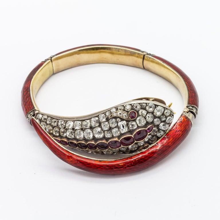 Victorian Diamond and Red Enamel Gold Snake Bangle Bracelet For Sale 1