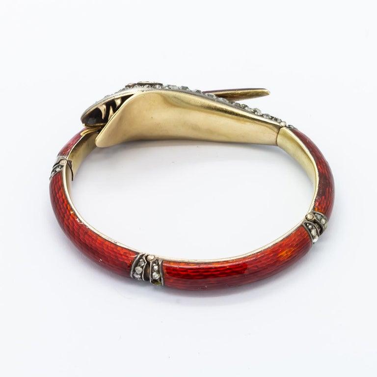 Victorian Diamond and Red Enamel Gold Snake Bangle Bracelet For Sale 3