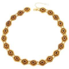 Victorian Red Garnet 14 Karat Yellow Gold Link Necklace