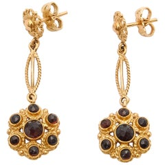 Victorian Red Garnet 14 Karat Yellow Gold Rope Dangle Earrings