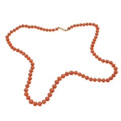 Victorian Red Orange Natural Coral Necklace