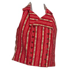 Victorian Red Striped Cotton Flannel 1790'S Style Mens Vest