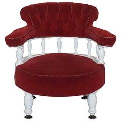 Victorian Red Velvet Upholstered Oak Framed Small Captains Occasional Armchair