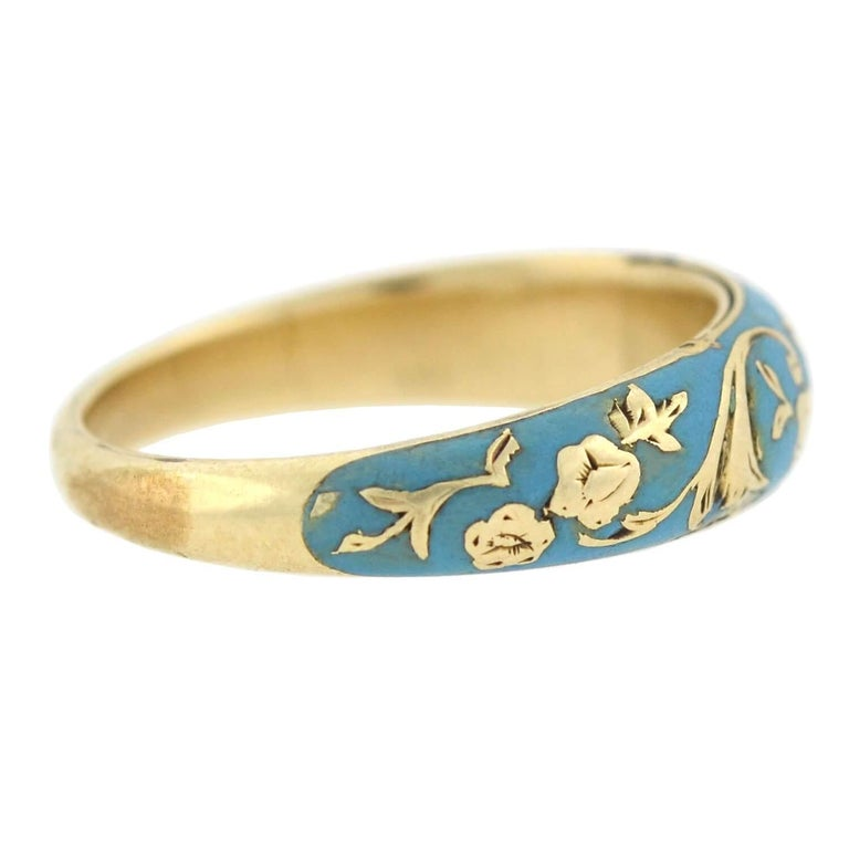 Victorian Renaissance Revival Blue Enamel Hidden Compartment Ring In Good Condition For Sale In Narberth, PA