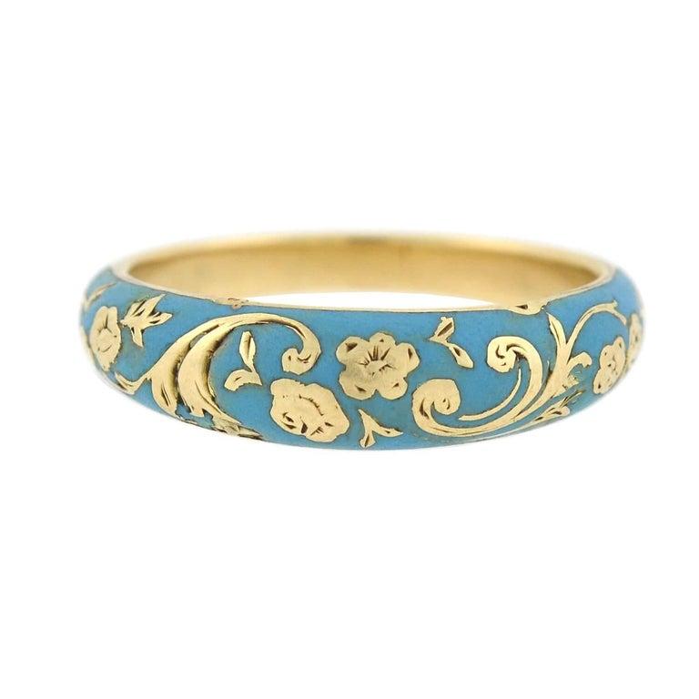 Women's Victorian Renaissance Revival Blue Enamel Hidden Compartment Ring For Sale