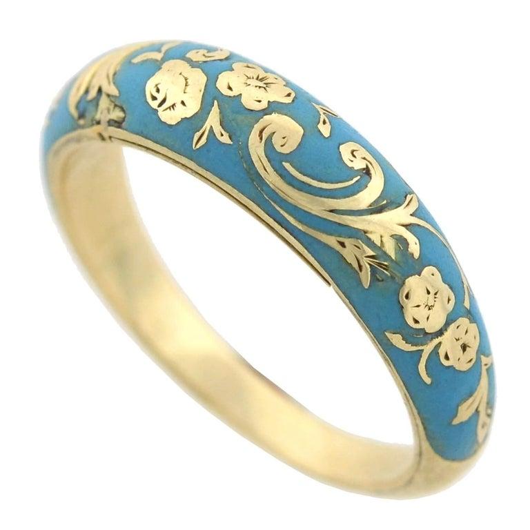 Victorian Renaissance Revival Blue Enamel Hidden Compartment Ring For Sale 1