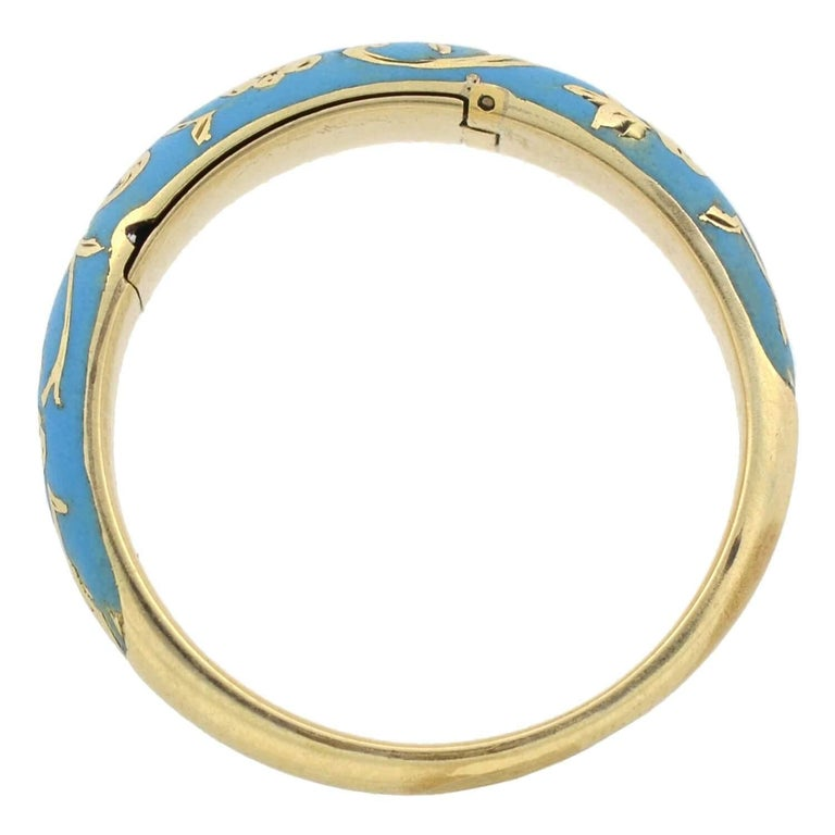 Victorian Renaissance Revival Blue Enamel Hidden Compartment Ring For Sale 2