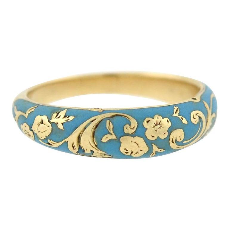 Victorian Renaissance Revival Blue Enamel Hidden Compartment Ring For Sale