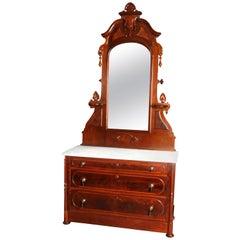 Victorian Renaissance Revival Burl & Walnut Marble Top Dresser, circa 1880