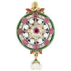 A Victorian Renaissance Revival Gem-set Pendant