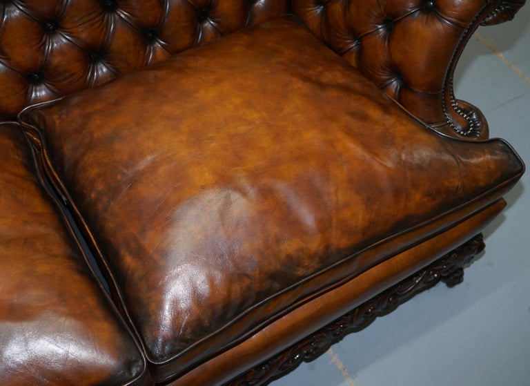 Victorian Restored Chesterfield Hand Dyed Brown Leather Sofa Lion Hairy Paw Feet 4