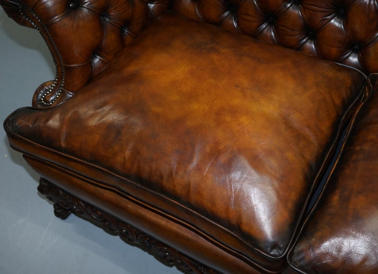 Victorian Restored Chesterfield Hand Dyed Brown Leather Sofa Lion Hairy Paw Feet 5