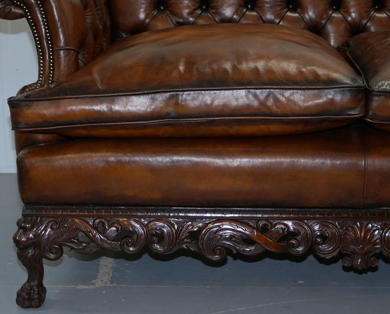 Victorian Restored Chesterfield Hand Dyed Brown Leather Sofa Lion Hairy Paw Feet 6