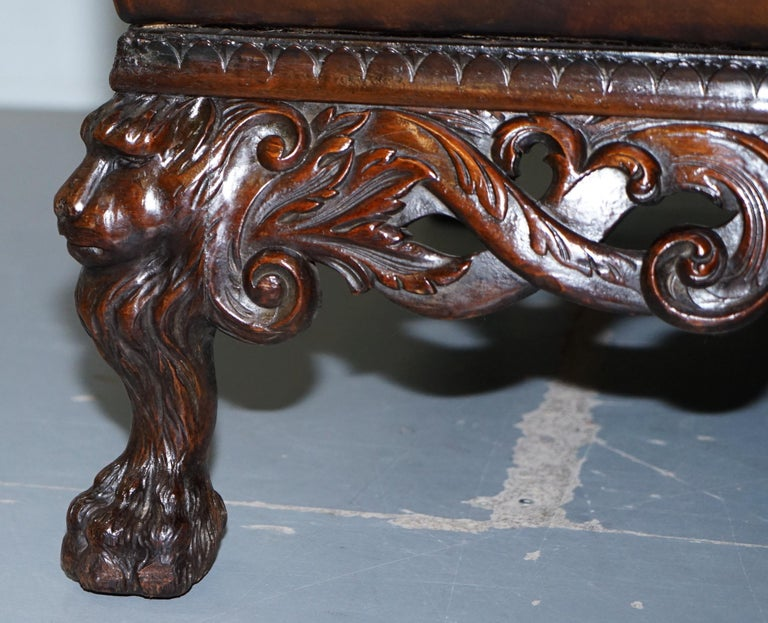 Victorian Restored Chesterfield Hand Dyed Brown Leather Sofa Lion Hairy Paw Feet 7