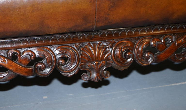Victorian Restored Chesterfield Hand Dyed Brown Leather Sofa Lion Hairy Paw Feet 8
