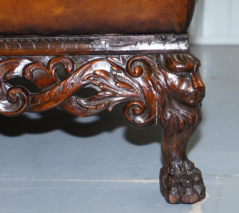 Victorian Restored Chesterfield Hand Dyed Brown Leather Sofa Lion Hairy Paw Feet 9