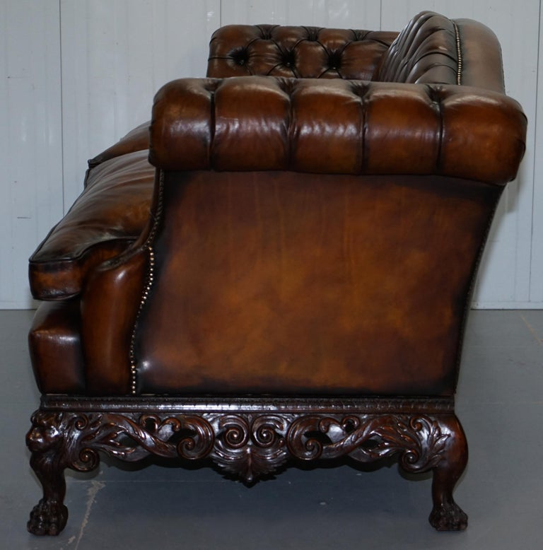 Victorian Restored Chesterfield Hand Dyed Brown Leather Sofa Lion Hairy Paw Feet 10