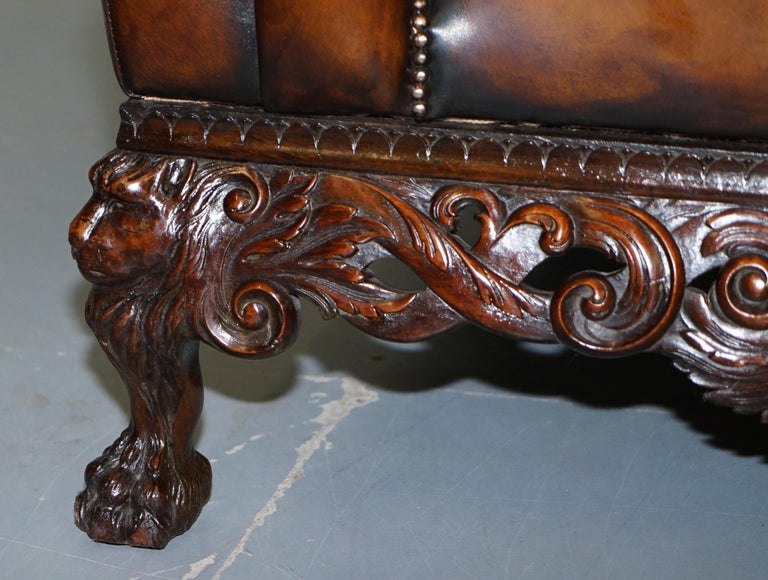 Victorian Restored Chesterfield Hand Dyed Brown Leather Sofa Lion Hairy Paw Feet 11