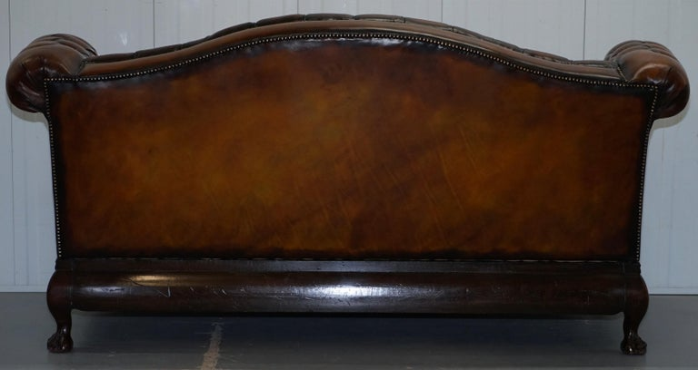 Victorian Restored Chesterfield Hand Dyed Brown Leather Sofa Lion Hairy Paw Feet 13