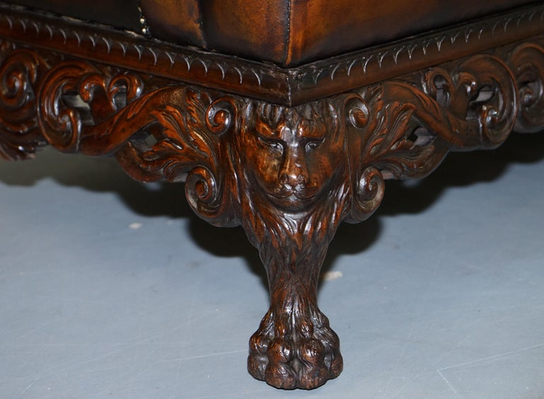 Victorian Restored Chesterfield Hand Dyed Brown Leather Sofa Lion Hairy Paw Feet 14