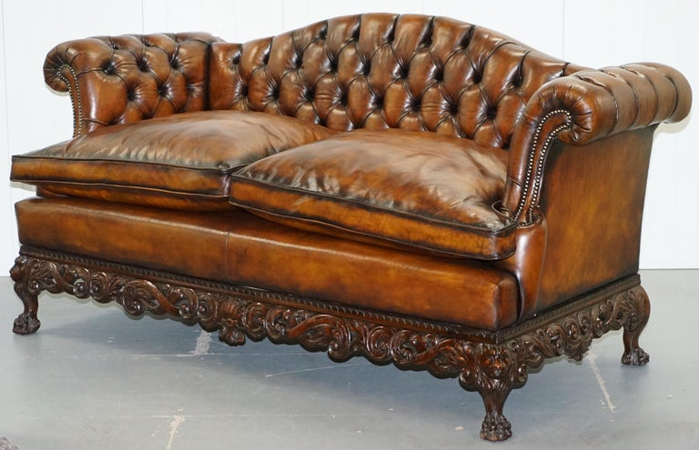 English Victorian Restored Chesterfield Hand Dyed Brown Leather Sofa Lion Hairy Paw Feet