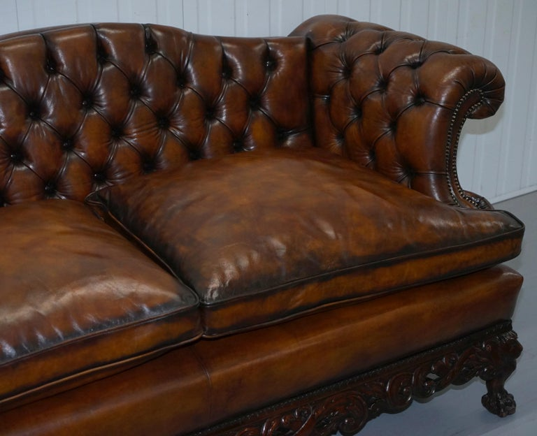 Hand-Crafted Victorian Restored Chesterfield Hand Dyed Brown Leather Sofa Lion Hairy Paw Feet