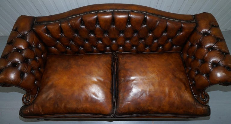 Victorian Restored Chesterfield Hand Dyed Brown Leather Sofa Lion Hairy Paw Feet 1