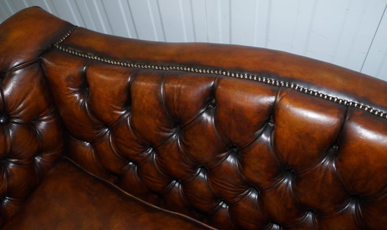 Victorian Restored Chesterfield Hand Dyed Brown Leather Sofa Lion Hairy Paw Feet 2