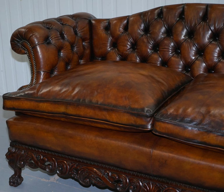 Victorian Restored Chesterfield Hand Dyed Brown Leather Sofa Lion Hairy Paw Feet 3