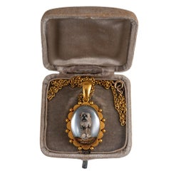 Victorian Reverse Carved Dog Locket Pendant
