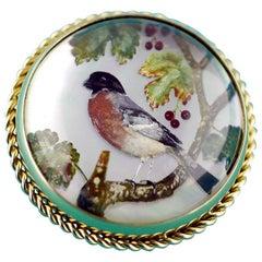 Victorian Reverse Intaglio Essex Crystal Bird Brooch