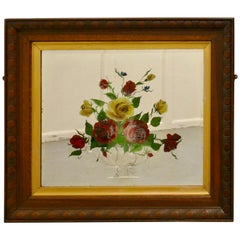 Victorian Reverse Painted Mirror, Decorated with Roses
