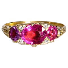 Victorian Revival 1.26 Carat Old Euro Oval Pink Tourmaline Diamond 14 Karat Gold