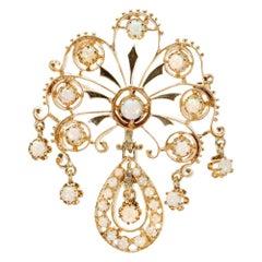 Victorian Revival 3.00 Carat Opal Yellow Gold Brooch Pendant