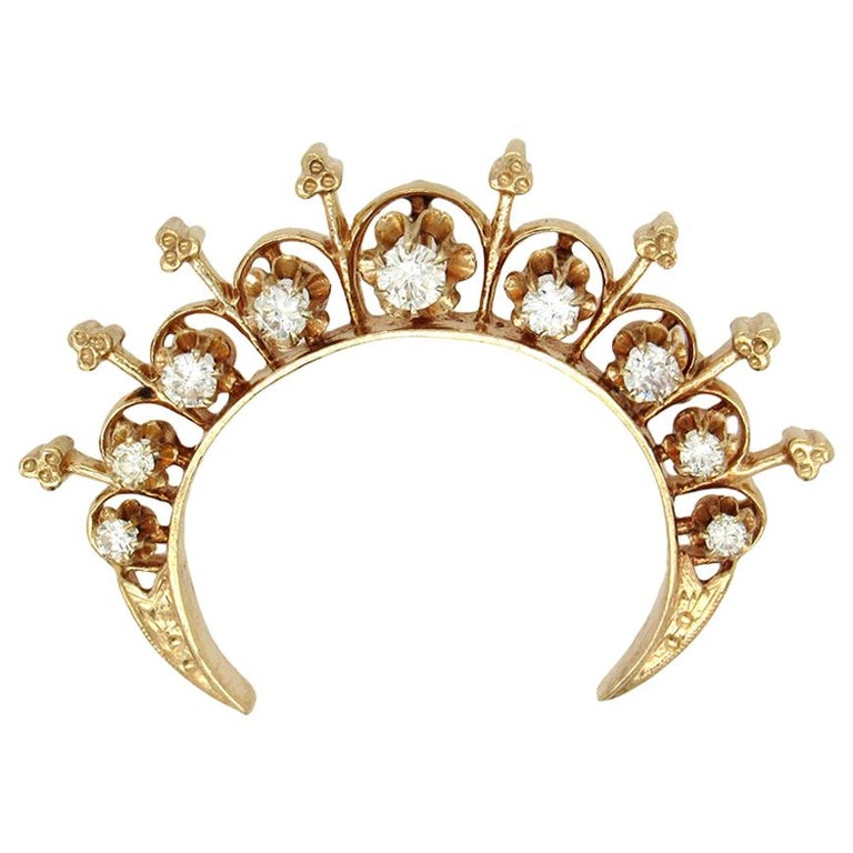 Victorian Revival Crescent Brooch For Sale