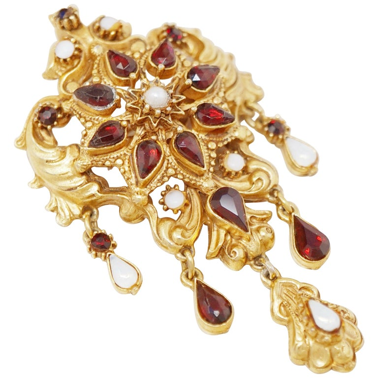 Victorian Revival Gilt Brooch with Garnet & Opal Rhinestones by Florenza, 1960s For Sale