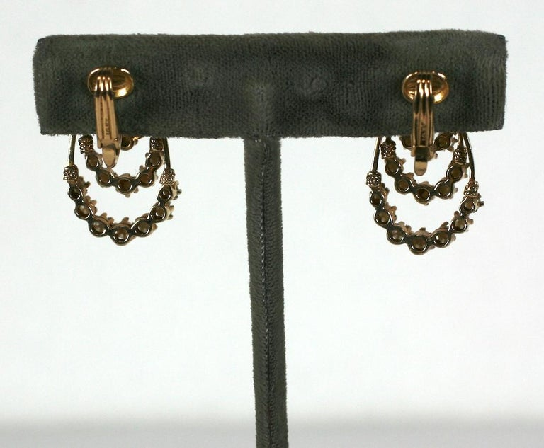Bead Victorian Revival Gold and Pearl Earrings For Sale