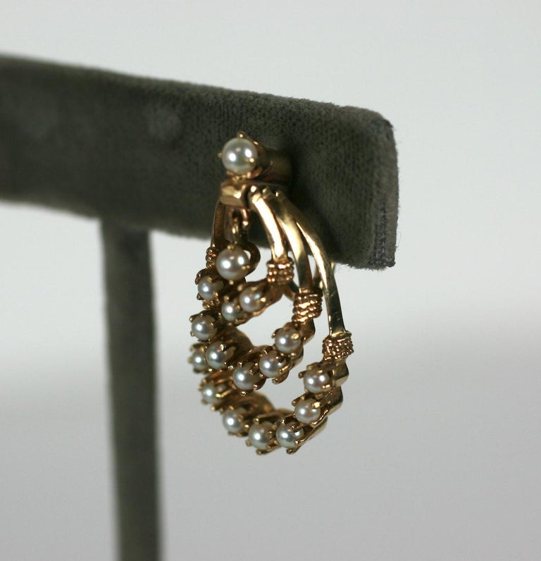 Victorian Revival Gold and Pearl Earrings For Sale 1