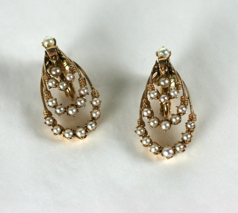 Victorian Revival Gold and Pearl Earrings For Sale 2