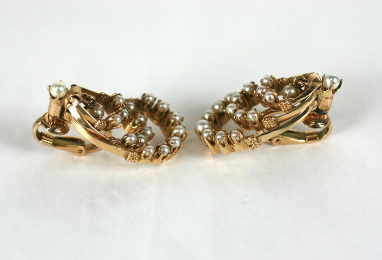 Victorian Revival Gold and Pearl Earrings For Sale 3