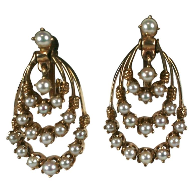 Victorian Revival Gold and Pearl Earrings For Sale