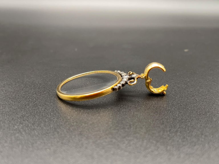 Victorian Monocle Magnifying Glass Diamonds Gold Pendant Necklace  For Sale 6